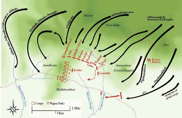 Map of the Battle of Isandlwana, 22 January 1879