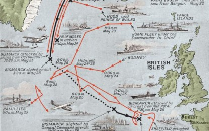 Sinking the Bismarck – Map of the last voyage of the Bismarck