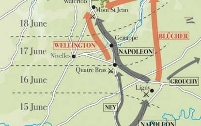 Waterloo – map of troop manoeuvres