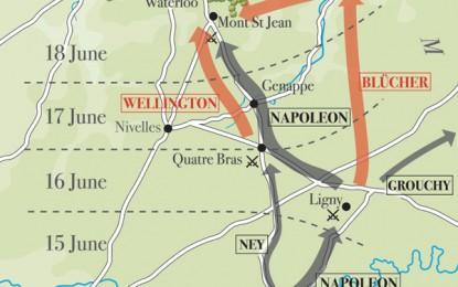 Waterloo – map of troop manoeuvres
