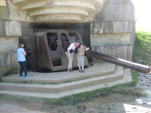 2012-08-08 The Author and his son at the Longues-sur-Mer Battery, Normandy