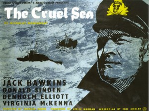 The face of Jack Hawkins looks out from the 1953 poster for The Cruel Sea.