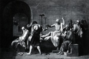 The death of Socrates. Condemned to death for profaning the gods and misleading the youth, the expectation was that Socrates would choose exile (political and social 'death'). Instead he drank hemlock and become Western philosophy's founding martyr.