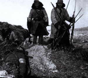 Austro-Hungarian soldiers (with dead Russian) on the Eastern Front. Austria-Hungary was almost as poorly equipped to wage a modern war as Russia.
