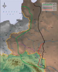 The eastern Front in the First World war, showing the shifting front-line in he wake of major attacks.