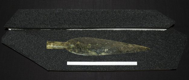 Bronze Age spearhead with gold ornament