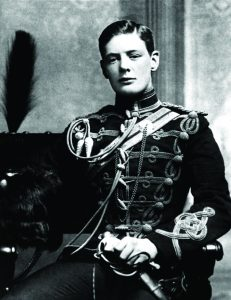 A young Winston Churchill in uniform.